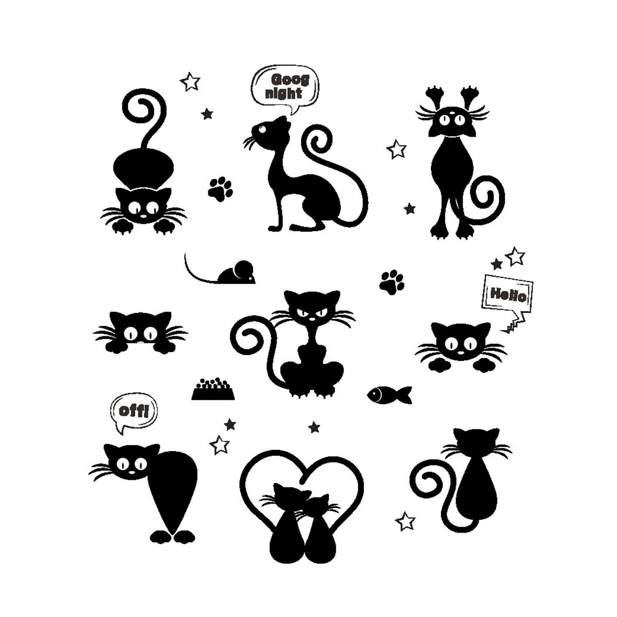 Removable Wall Stickers Cartoon Black Cat Light Switch Stickers Vinyl Wallpapers DIY Decor Decals for Art Mural Baby Nursery Room