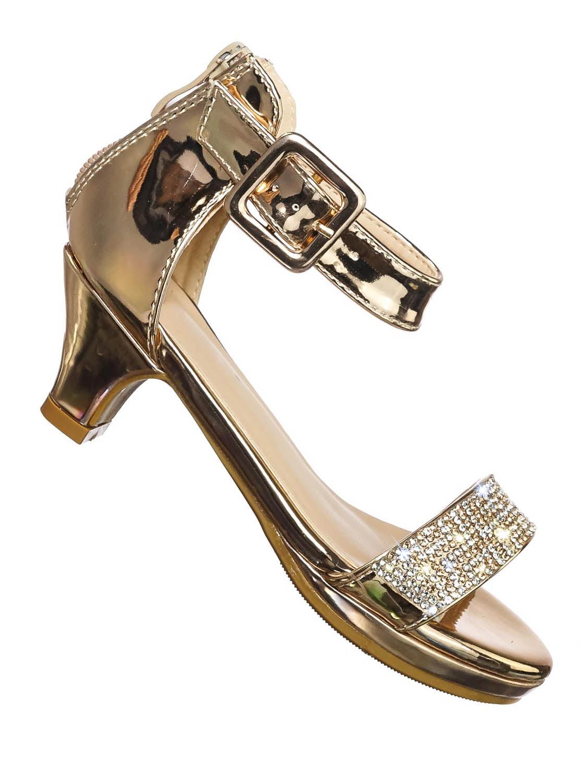 Forvever Angel 54 Womens Rhinestone Event Dress Sandals Gold