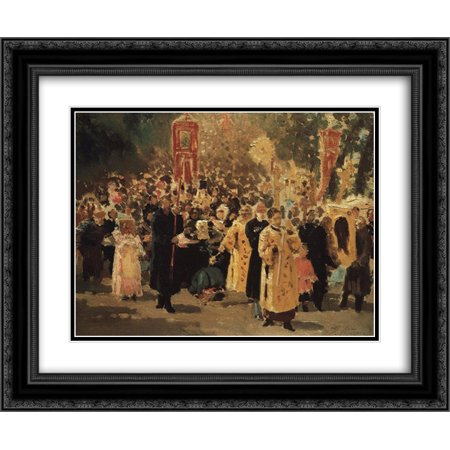 Ilya Repin 2x Matted 24x20 Black Ornate Framed Art Print \'Religious ...