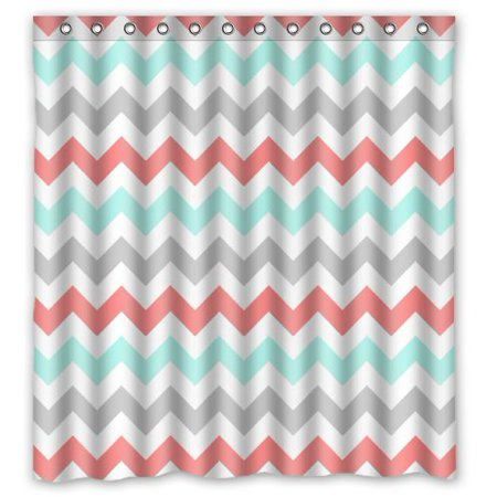 HelloDecor Coral Light Green Gray and White Chevron Zig Zag Shower Curtain Polyester Fabric Bathroom Decorative Curtain Size 66x72 Inches ()