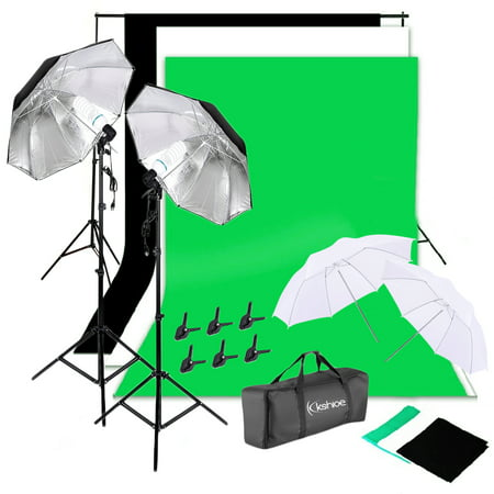 Zimtown NEW Photo Studio Lighting Photography 2 Backdrop Stand Light Kit Umbrella Set US Lighting Photography Kit