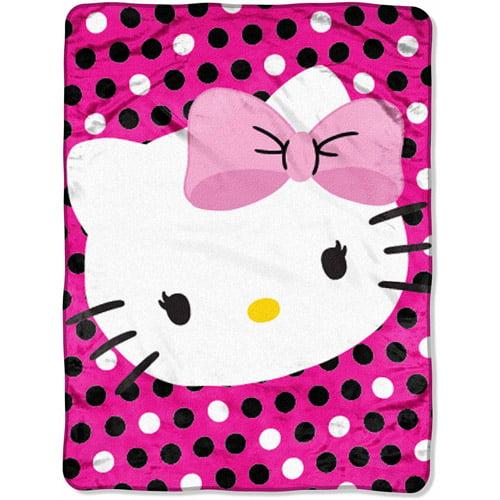 """Hello Kitty Cuddle Pillow: Sanrio Hello Kitty Dotted Bow 46"""" X 60"""" Micro Raschel"""