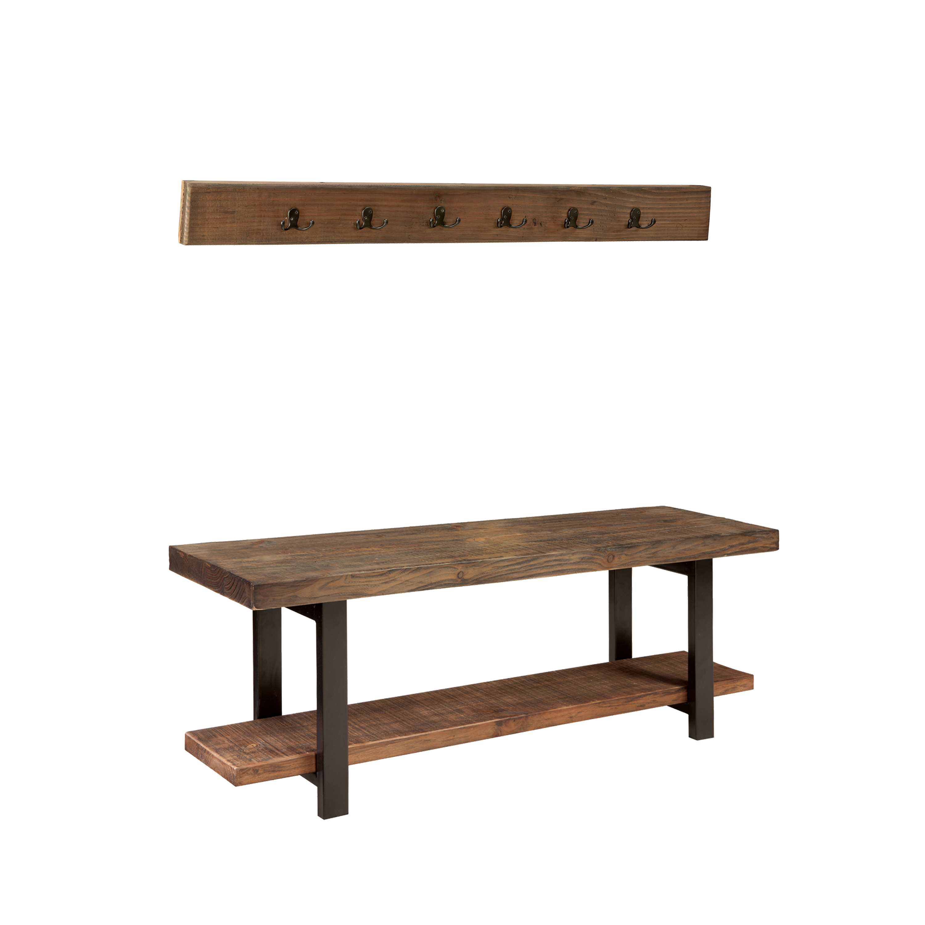 Excellent Pomona 48 Metal And Reclaimed Wood Storage Coat Hook With Bench Gmtry Best Dining Table And Chair Ideas Images Gmtryco