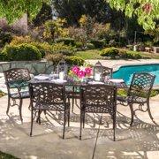 Oskaloosa Hammered Bronze Cast Aluminum 7-Piece Rectangular Outdoor Dining Set