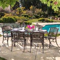 Oskaloosa Hammered Bronze Cast Aluminum 7-Piece Rectangular Outdoor Dining Set