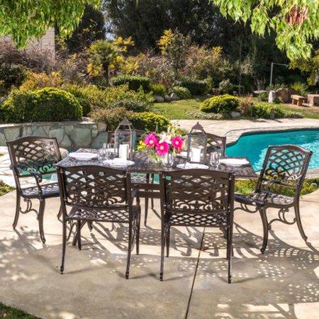 Nfusion Hammered Bronze Rectangular Dining Set