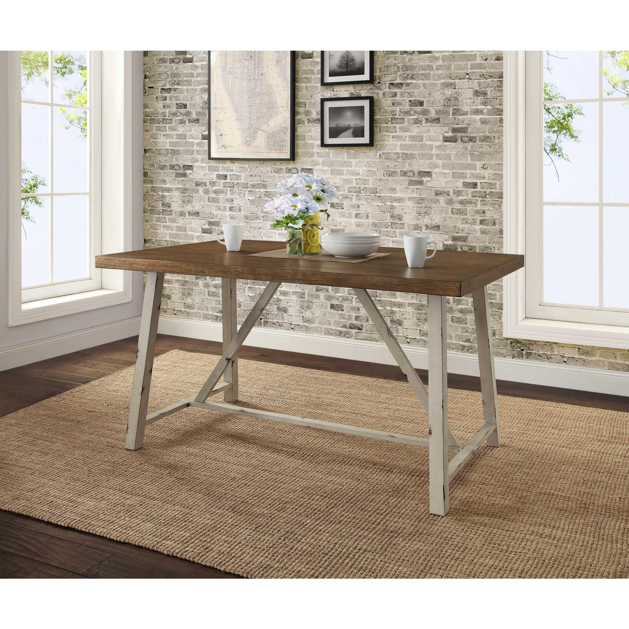 Better Homes U0026 Gardens Collin Wood And Metal Dining Table, Comfortably  Seats 4, Distressed White Table Base And Brown Top   Walmart.com