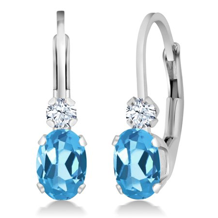 1.18 Ct Oval Swiss Blue Topaz White Created Sapphire Silver Leverback Earrings Blue Sapphire Blue Topaz Earrings