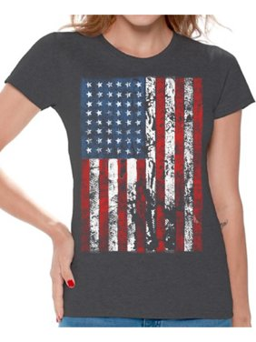 0d2a053a2 Product Image Awkward Styles American Flag Distressed Women Shirt I'm American  4th of July T shirt