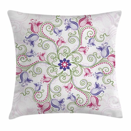 Purple Mandala Throw Pillow Cushion Cover, Classic Shabby Chic with Eastern Swirled Tulip Flowers Image, Decorative Square Accent Pillow Case, 16 X 16 Inches, Fern Green Magenta White, by Ambesonne Classic 16' Single Light