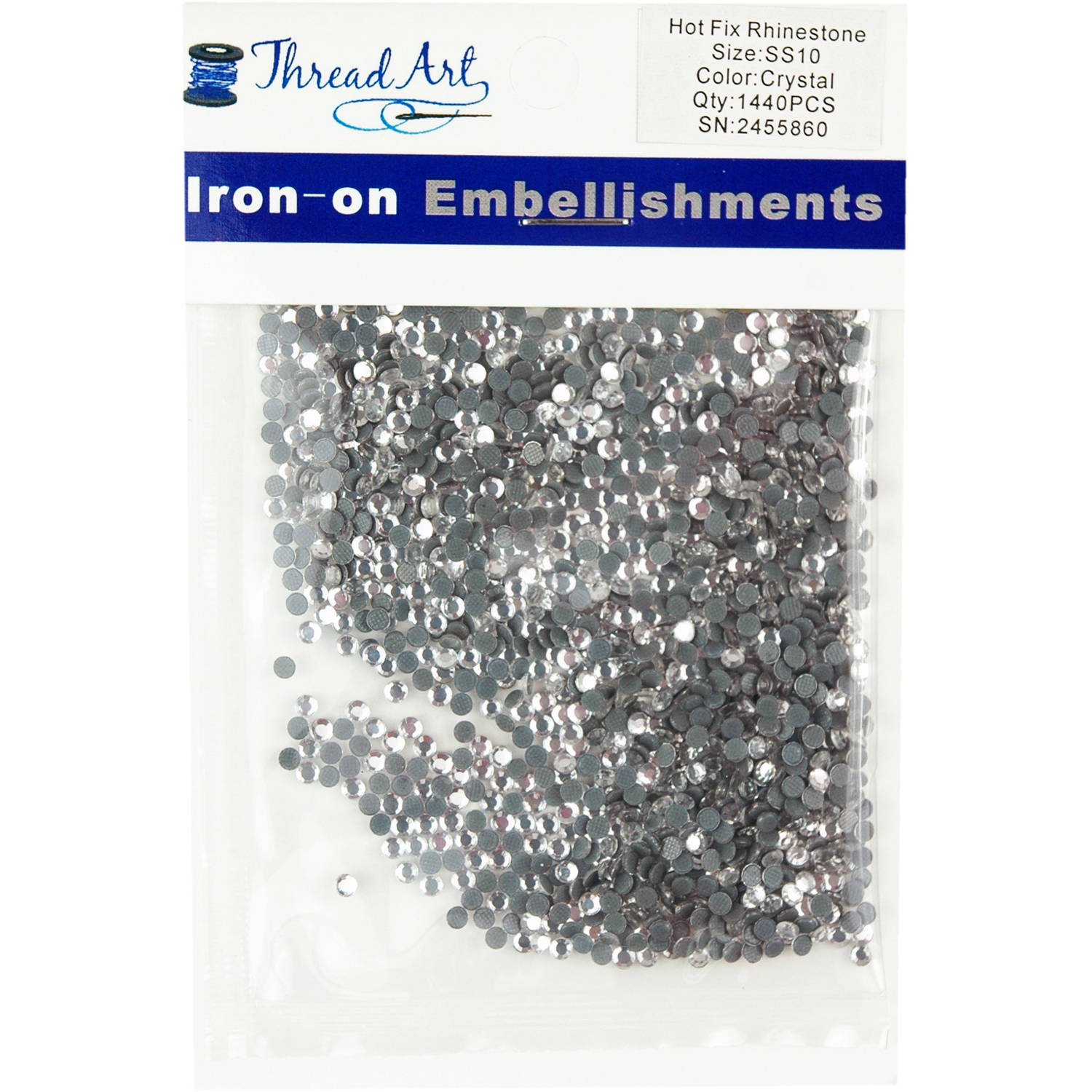Threadart Hot Fix Rhinestones SS10 (3mm) 10 Gross (1440 stones/Package) Hotfix, 32 Colors Available