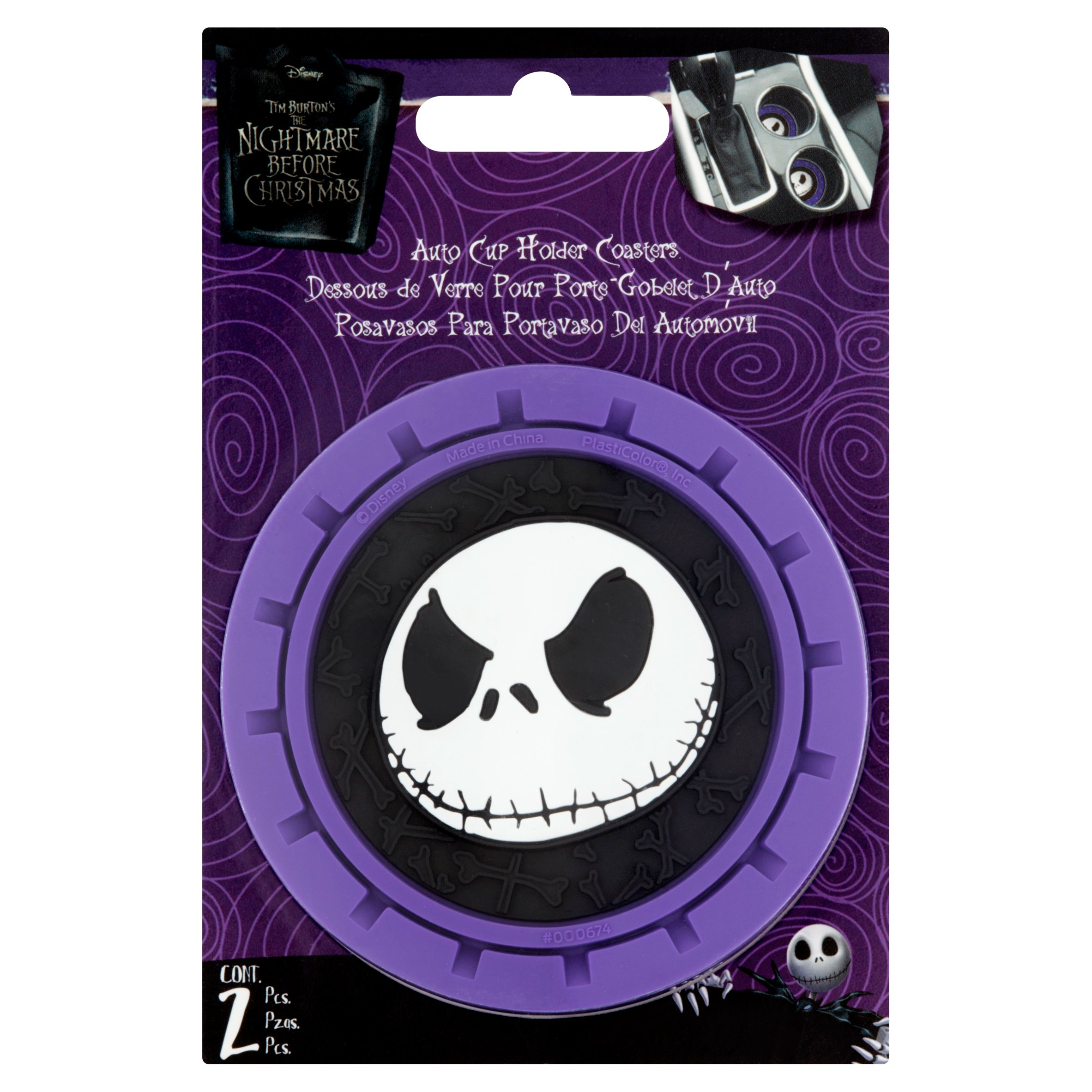 Disney Tim Burton's The Nightmare Before Christmas Auto Cup Holder Coasters, 2 count by PlastiColor®