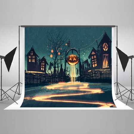HelloDecor Polyster 7x5ft Happy Halloween Pumpkins Party Decorations Photography Backdrop Photo Booth Background - Halloween Photo Booth Backdrop