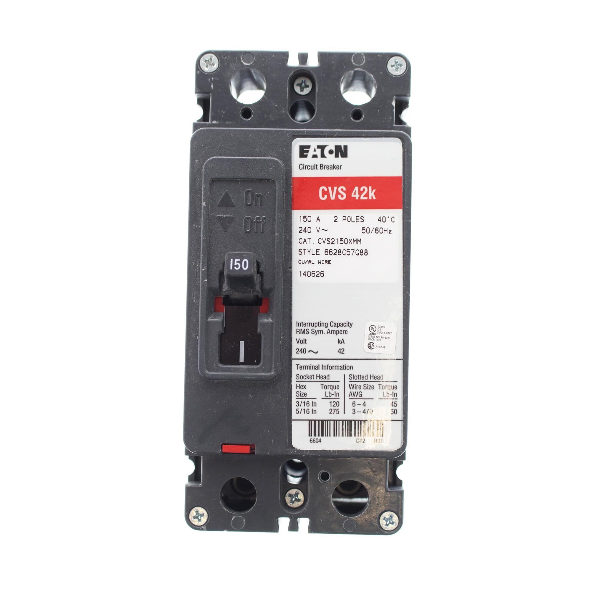 Cutler-Hammer CVS2150XMM Circuit Breaker, 240-Volt, 2-Pole, 150-Amp, 42kAIC, CV