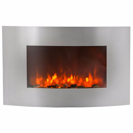 "35""x23"" Curved 750W/1500W Electric Heater Fireplace, Stainless Steel"