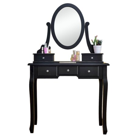 Dressing Table with 10 Lights, 5 Drawers 360° Rotation Single Mirror Wooden Makeup Vanity Table for Girls Women Bedroom Makeup Organizer BLACK