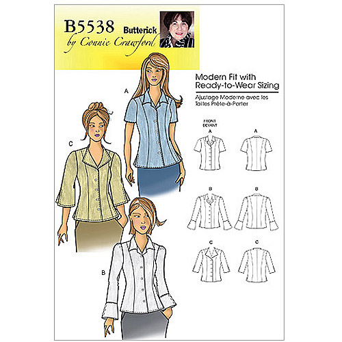 Butterick Pattern Misses' and Women's Blouse, Miss (XS, S, M, L, XL)