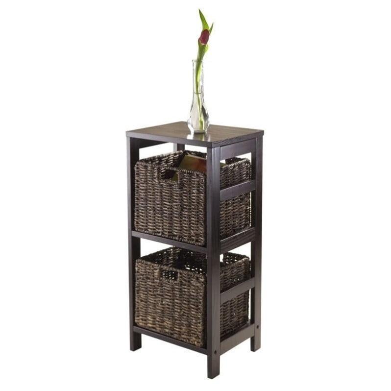 Pemberly Row 3Pc Storage Shelf with 2 Baskets in Espresso - image 2 of 2