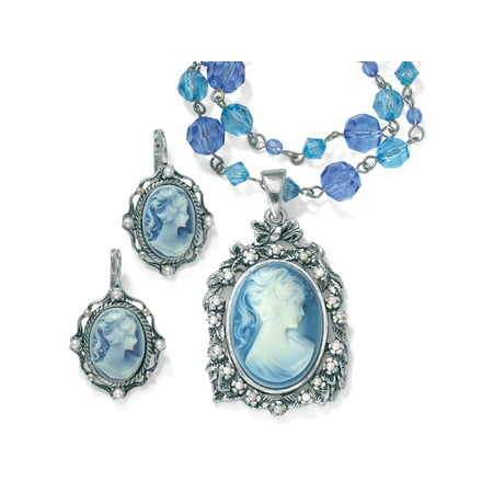 Simulated Pearl and Lucite Cameo Two-Piece Necklace and Earrings Set in Antiqued Silvertone