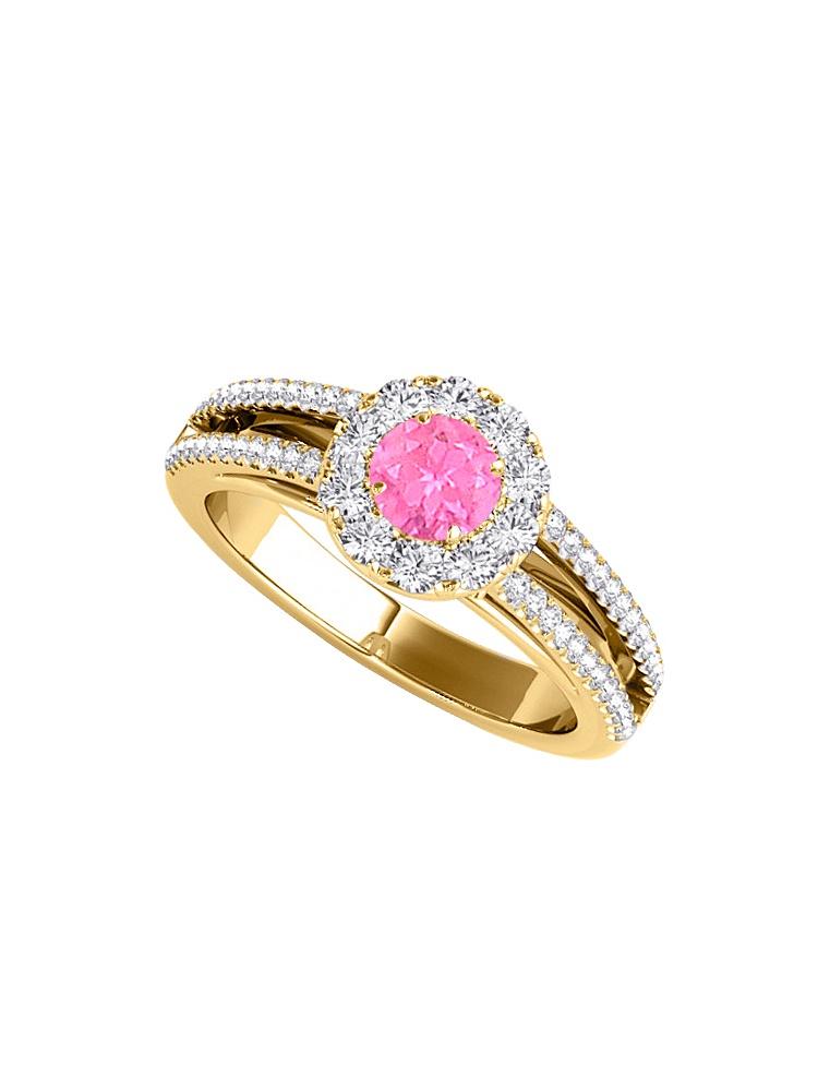 Halo Pink Sapphire Cubic Zirconia Split Shank Ring 1.50 CT TGW by Love Bright