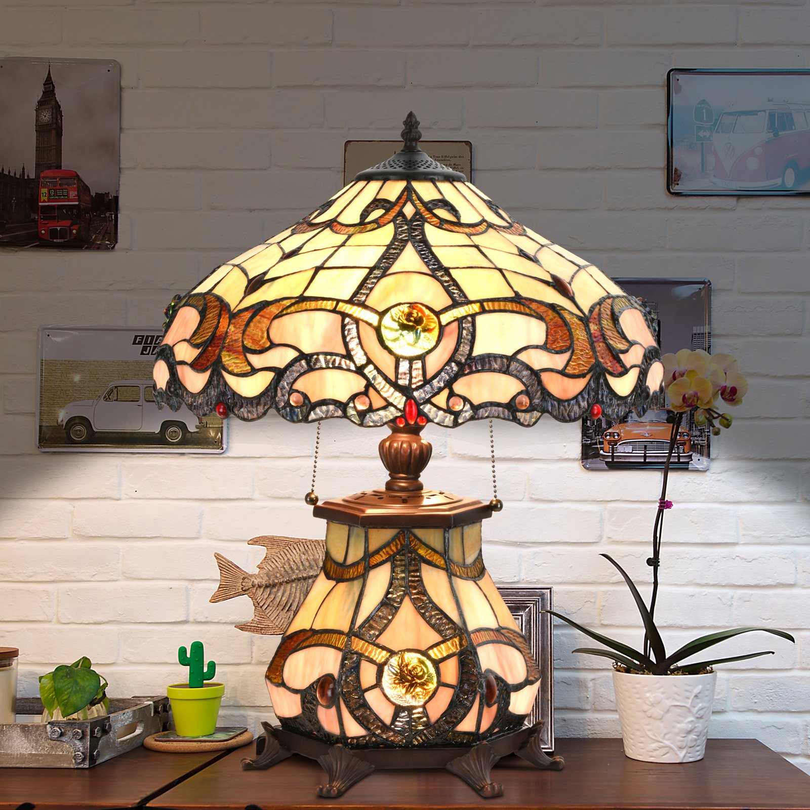 Cloud Mountain Victorian Stained Glass Table Lamp Walmart Com Walmart Com