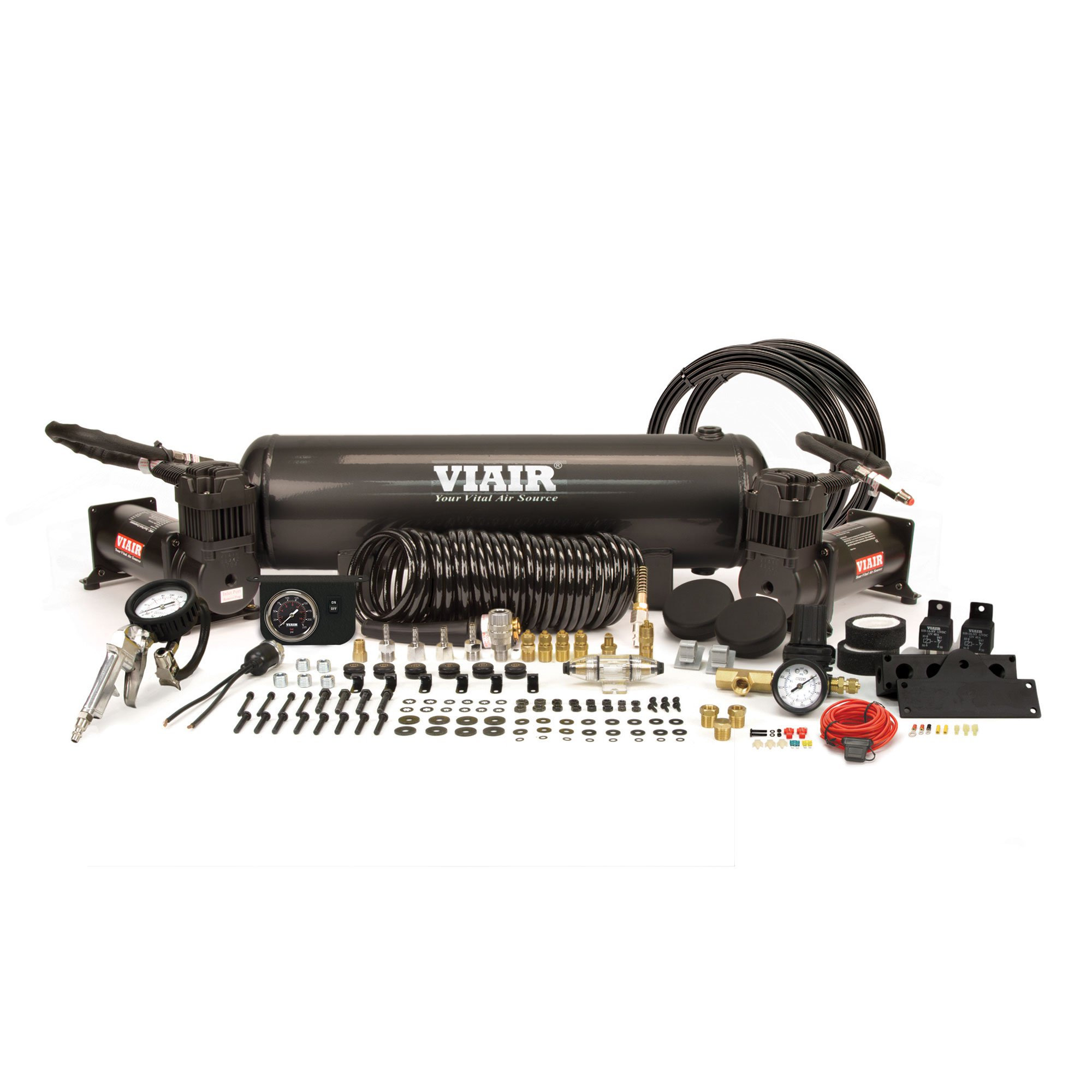 VIAIR 20020 Dual 444C 200 PSI OBA On Board Air Compressor System, Stealth Black