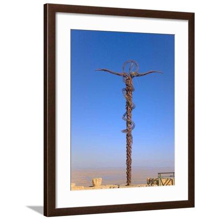 Cross at Moses Memorial Church, Mt Nebo, Overlooking Jordan Valley and Jericho Oasis, Amman, Jordan Framed Print Wall Art By Keren Su