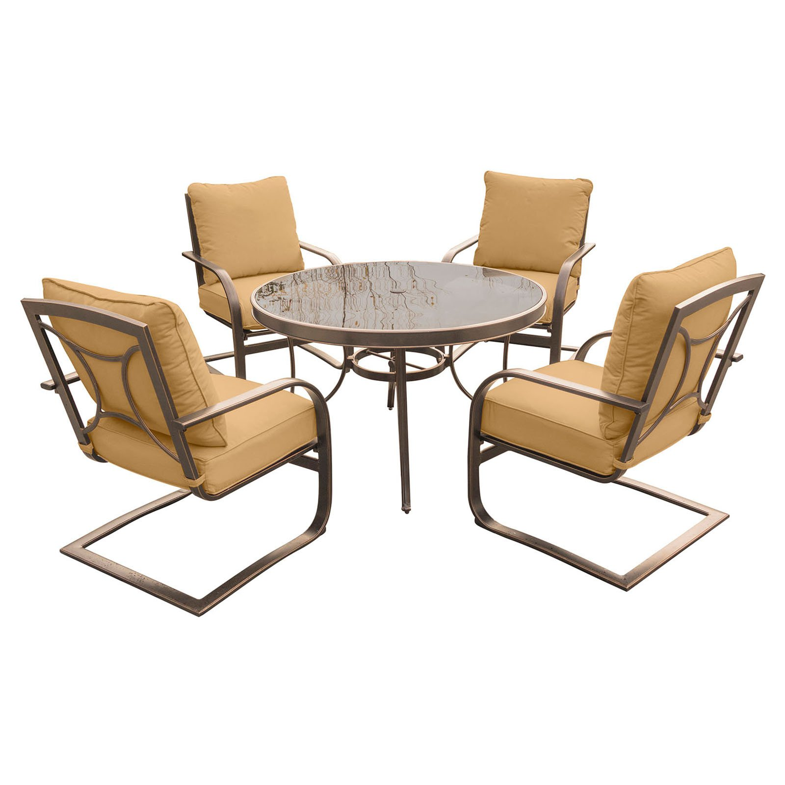Hanover Outdoor Summer Nights 5-Piece Chat Set with Glass-Top Table and C-Spring Chairs, Desert Sunset