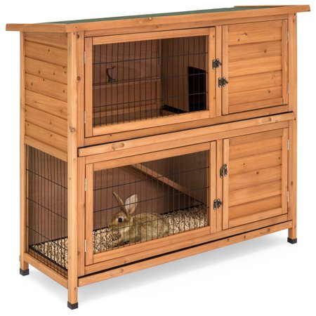 Best Choice Products 48x41in 2-Story Outdoor Wooden Pet Rabbit Hutch Animal (Best Indoor Rabbit Cage For 2 Rabbits)