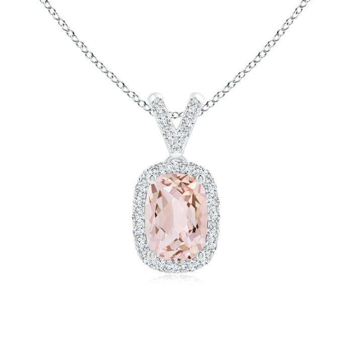 Cushion Cut Morganite Halo Pendant Necklace with Diamond Accents in 950 Platinum (7x5mm Morganite) SP0845MGD-PT-AA-7x5 by Angara.com