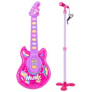 Rock N Roll Guitar Little Rock Star Guitar, Electronic Musical Instrument With Light and Music, Suitable for Children 6 Years Old and Above, Blue,Pink