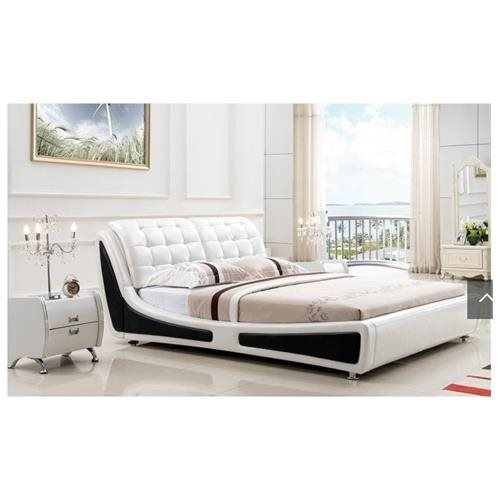 Victoria Contemporary Button Tufted Faux Leather Platform Bed, White/Black, Queen