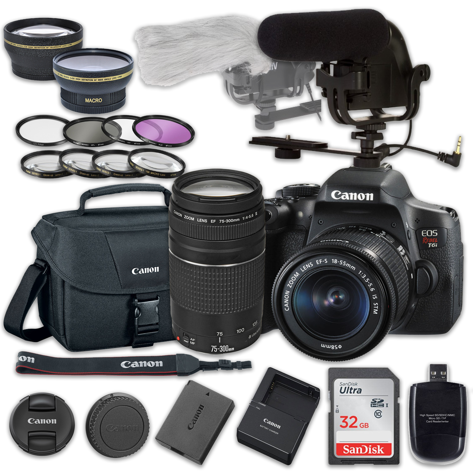 canon eos rebel t6i dslr camera bundle with canon ef s 18