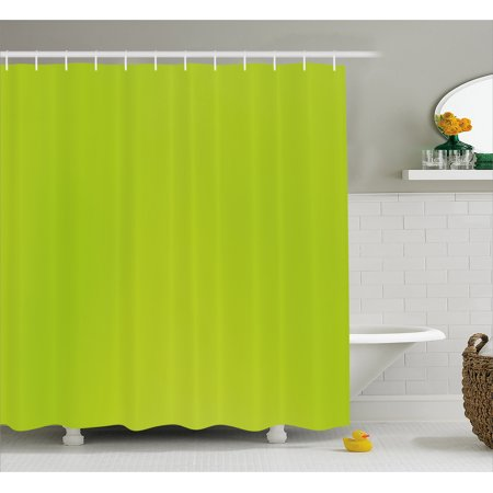 Lime Green Shower Curtain, Empty Backdrop Blurry Off Focus Pastel Toned Shade Color Spring Theme Abstract, Fabric Bathroom Set with Hooks, 69W X 84L Inches Extra Long, Apple Green, by Ambesonne