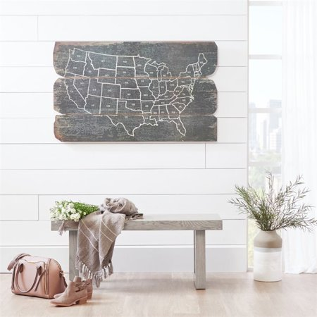Home Fare Modern Wooden Bench in Weathered Grey - image 1 of 5