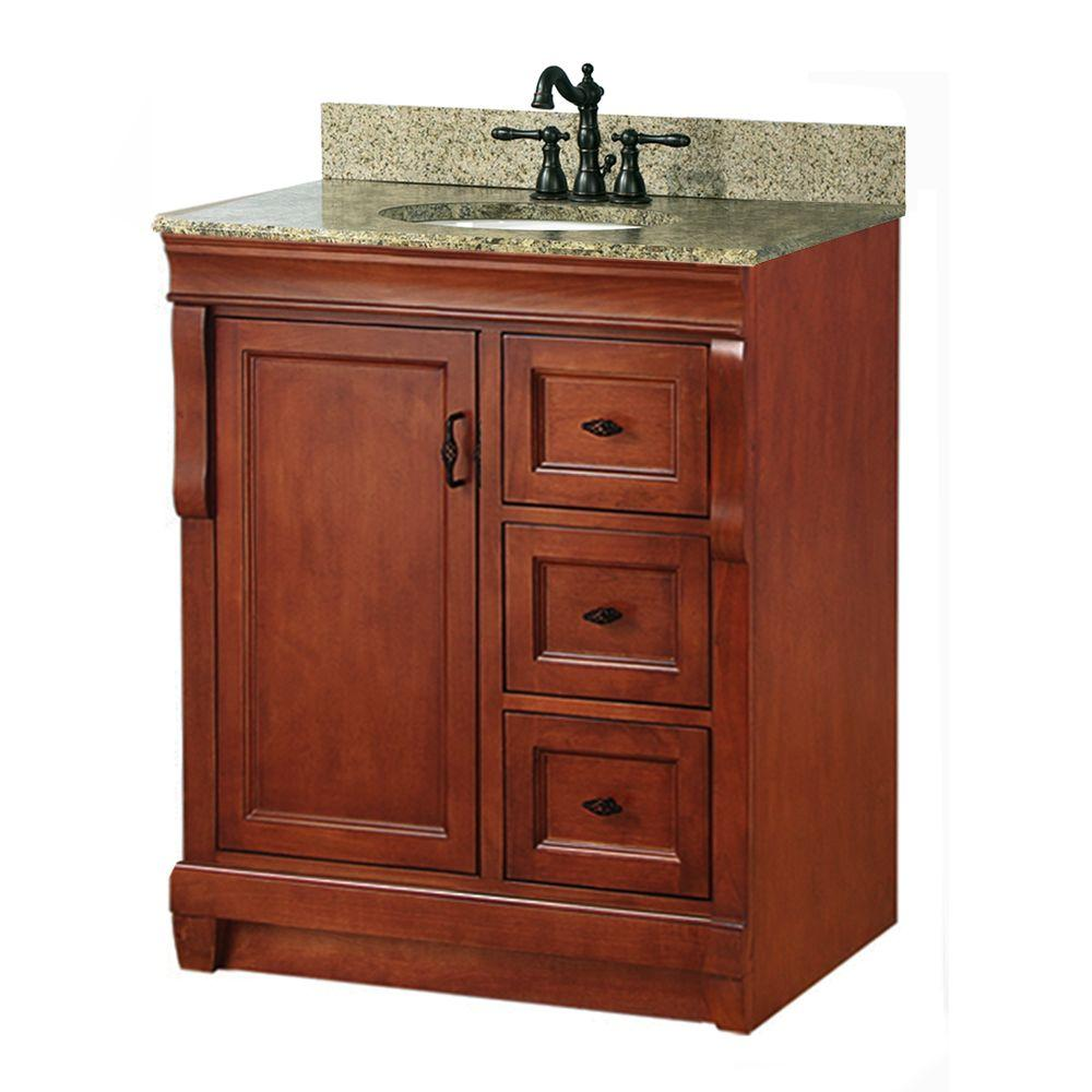 "Foremost NACAQU3122D Naples 31"" W x 22"" D Vanity w/ Right Drawers in Warm Cinnamon w/ Granite Vanity Top in Quadro"