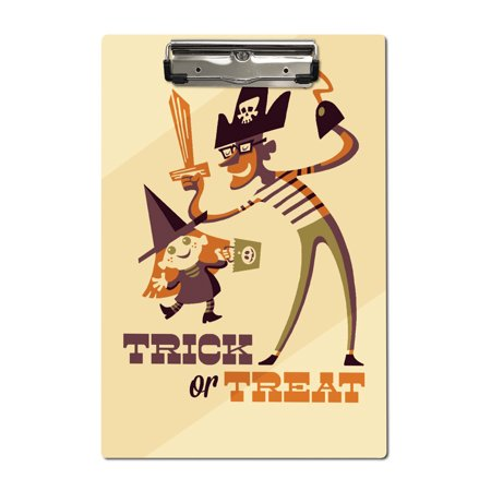 Trick or Treat - Dad & Daughter - Retro Halloween - Lantern Press Artwork (Acrylic Clipboard) (Dad And Daughters Elsa Halloween)