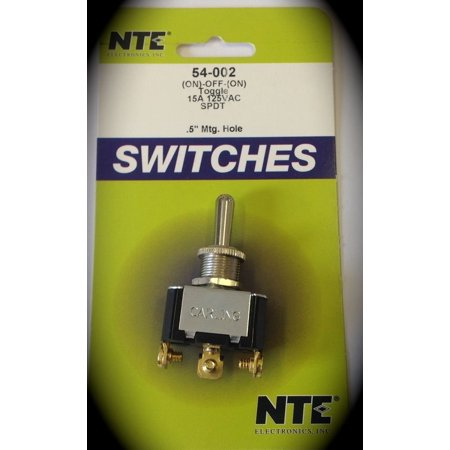54-002 Bat Handle Toggle Switch, SPDT Circuit, On-Off-On Action, Brass/Nickel Plate Actuator, 15 Amp, 125V, onNoneOff Nylon Waterproof 0010.., By NTE Electronics Ship from US