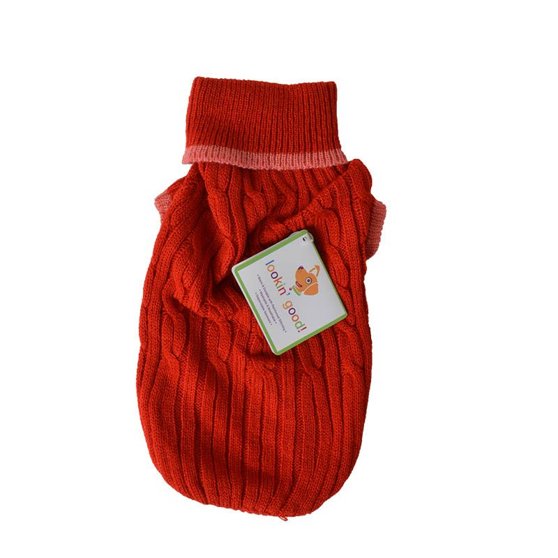 "Fashion Pet Cable Knit Dog Sweater - Red Small (10""-14"" From Neck Base to Tail) - Pack of 2"