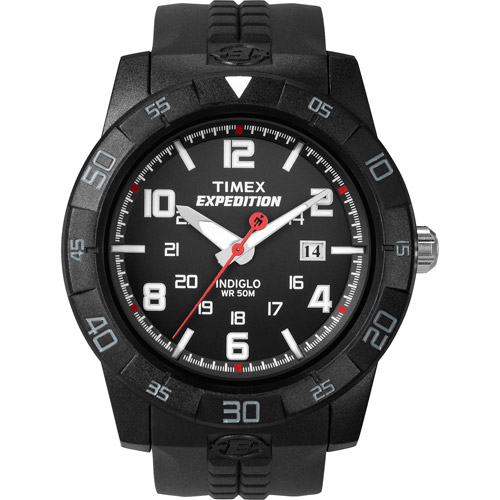 Timex Men's Expedition Rugged Analog Watch, Black Resin Strap