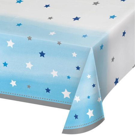 Creative Converting One Little Star - Boy Plastic Tablecover All Over Print, 54