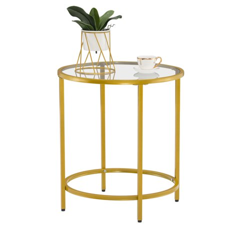 ROBOT-GXG Round Glass Coffee Table - Small Round Side Table - Glass End Table - Round Side Table for Living Room 2-Tier Tempered Glass End Table with Metal Frame Small Coffee Table Bedside Table