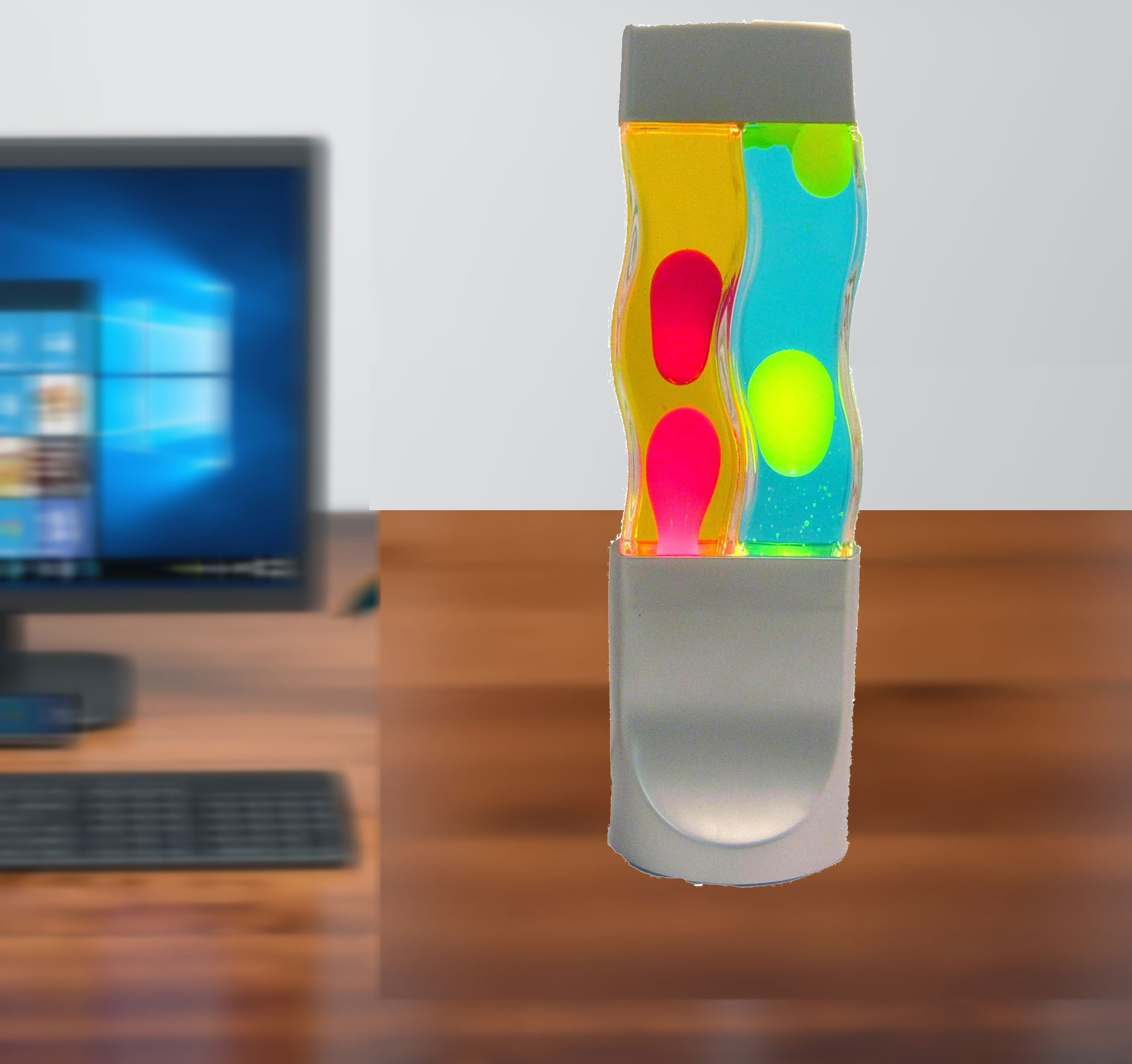 Relaxing and Soothing with this Twin Motion Lamp, Yellow Wax/Blue Liquid and Red Wax/Yellow Liquid, Silver Base/Cap. Twice the motion Twice the Fun. Center piece. Product Size: 5 x 16.14 x 5