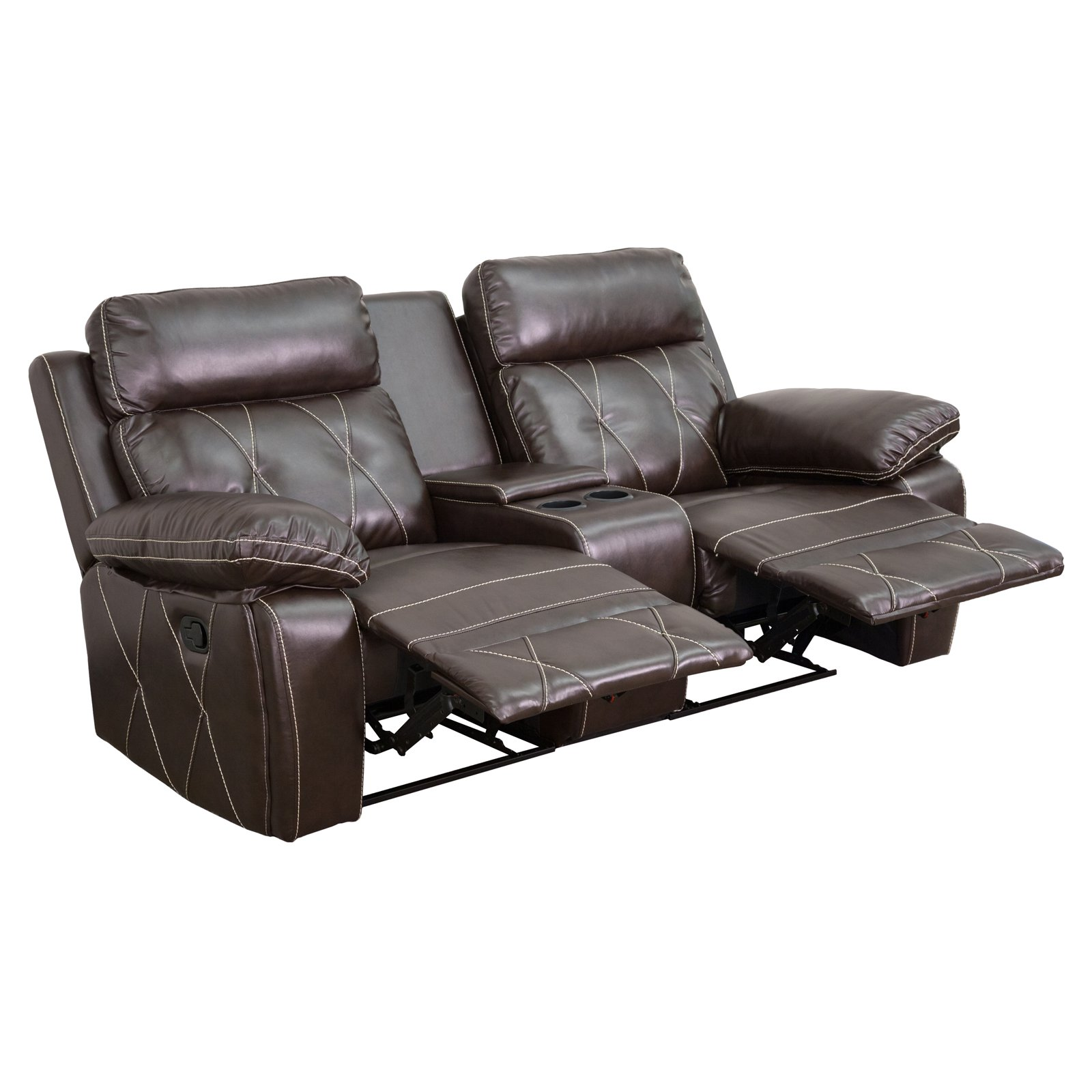 Flash Furniture Reel Comfort Series 2-Seat Reclining Leather Theater Seating Unit with Straight Cup Holders