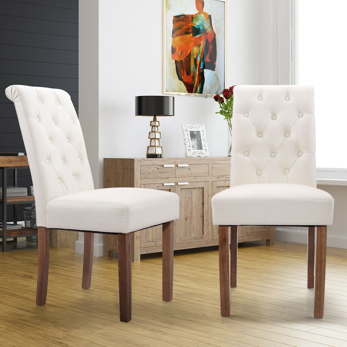 hommoo dining chair high back fabric rolltop accent