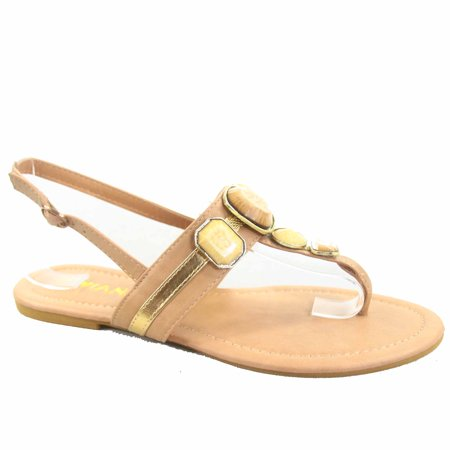 Buckle Thong (Jalila-20 Women's Thong Buckle T-Strap Stone Décor Sling back Flat Sandals Shoes )