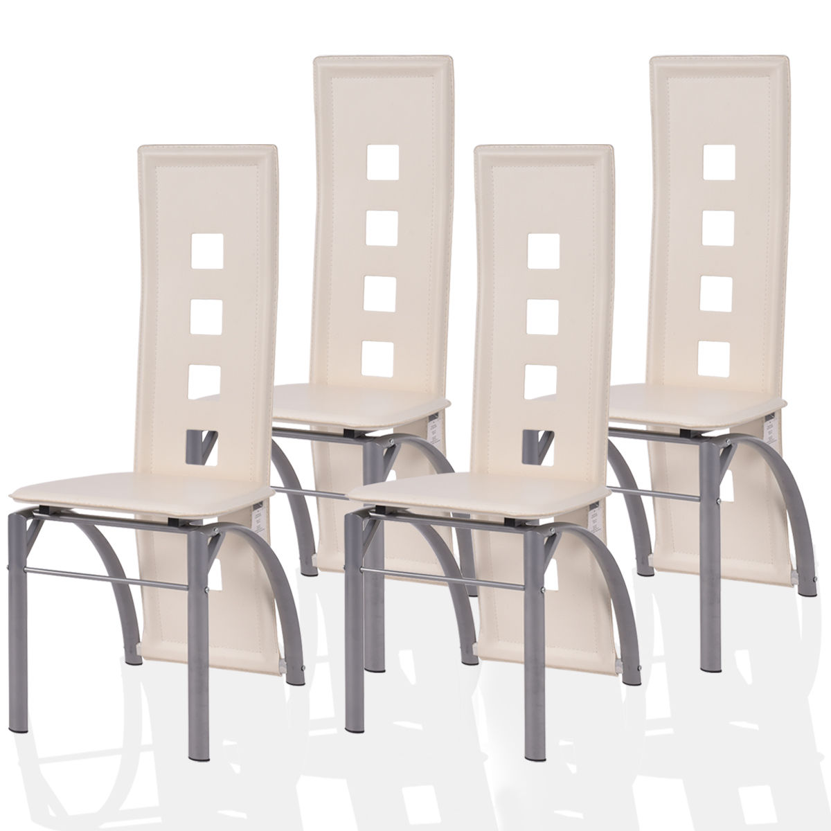 4 dining chairs luxury costway set of dining chairs pu leather steel frame high back home furniture white of