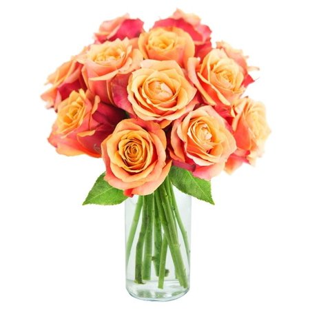 Kabloom Bouquet Of 12 Orange Roses Fresh Flowers For