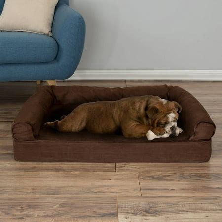 Orthopedic Dog Sofa Bed, Memory Foam Pet Bed with Foam Stuffed Bolsters PETMAKER