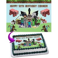 Minecraft Edible Cake Topper Personalized Birthday 1/2 Size Sheet Decoration Party Birthday Sugar Frosting Transfer Fondant Image
